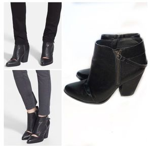Joe's 8.5 Black Leather Ankle Bootie Cut out Abby